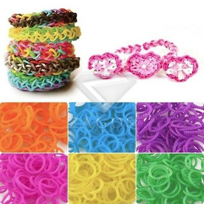 185-200pcs Refill Rainbow Rubber Loom Bands Striped Bracelet DIY Making](Rubber Band Bracelet Loom)
