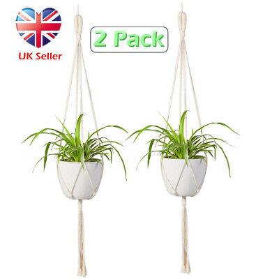 2x Handmade Jute Plant Hanger Pot Holder Macrame Cord Hanging Basket Home Garden