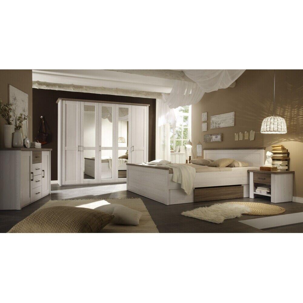 Komplettes Schlafzimmer, Kleiderschrank Doppelbett Nako´s im Set Pinie Nb. weiß 1