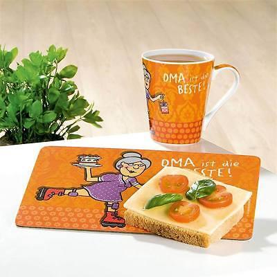 Gilde Set BRETT + Tasse für Frühstück Vesper Motiv Oma ist die Beste