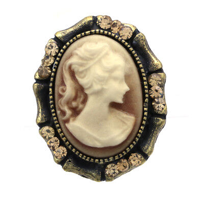 Oval Brown Vintage St Rhinestone Lady Cameo Ring Womens