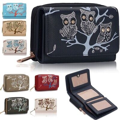 Ladies Owl Design Purse Womens Card Coin Wallet Faux Leather Medium Size New