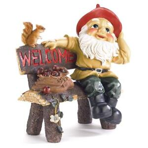 GetYourGiftHere koehler Home Entry Welcome Decor Gift Accent Garden Gnome  Welcome Statue