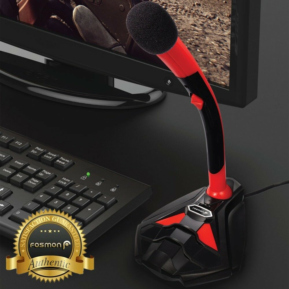 Купить USB Microphone Stand Audio Recording LED Mic Studio Gaming PC Desktop Computer