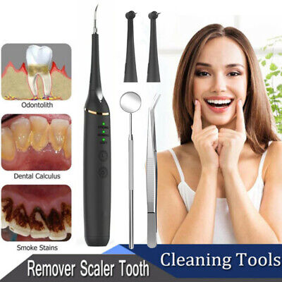Tooth Stains Dental Scaler Tartar Calculus Plaque Remover Electric Sonic Black