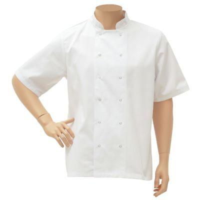 Hubert Short Sleeve Chef Coat White Poly Cotton - Medium