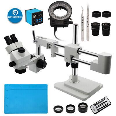 3.5x-90x Trinocular Stereo Microscope Rotatable Head W Double Arm Boom Stand