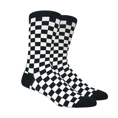 Mens Black And White Checkered Socks Checkerboard Checker Classic   1 Pair