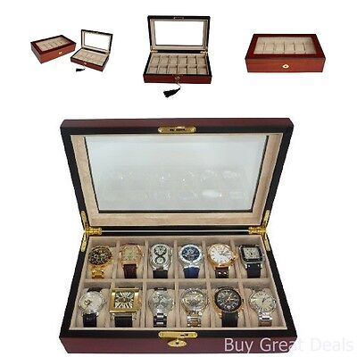 Elegant 12 Piece Cherry Wood Rosewood Watch Box Display Case Collection Jewelry ()