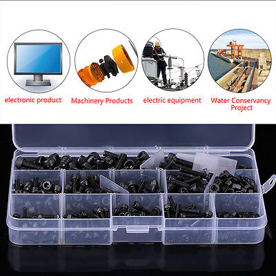 420x M3 M4 M5 Carbon Steel Hex Socket Head Cap Screws Bolts Nut Assorted Kit Box