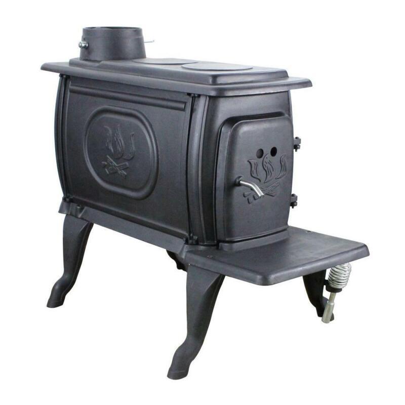 Logwood 900 sq. ft. Rustic Cast Iron Wood-Burning Stove w/ Cooking Range Top