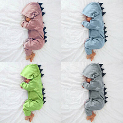 Newborn Infant Baby Boy Girl Dinosaur Hooded Romper Jumpsuit Clothes Outfit 2018 - Baby Boy Infant
