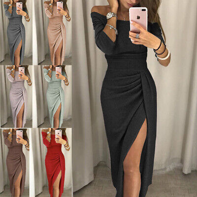 Womens Sexy Off Shoulder Evening Formal Party Split Gown Prom Bodycon Long -