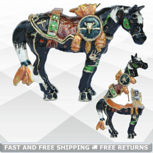 War Horse Miniature Jewelry Trinket Box With Hinged Lid Enamel Jeweled Crystals