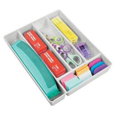 Mdesign Plastic Home Office Supplies Drawer Organizer Tray 2 High - Light Gray