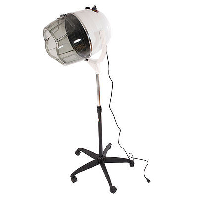 Adjustable Salon Rolling Hair Dryer Stand Up Bonnet Hood Floor Dryer w/ Wheels