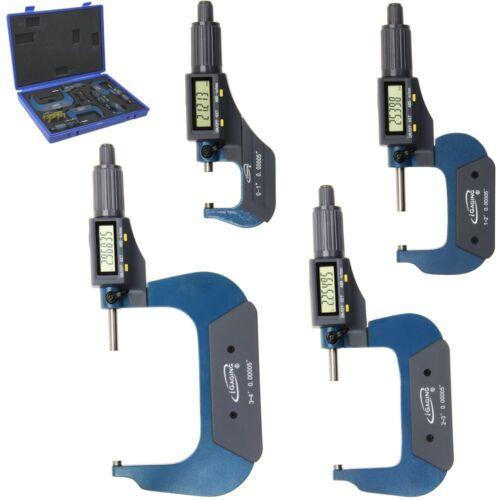 "0-4"" Outside Micrometer Digital Electronic Set 0-1"" 1-2"" 2-3"" 3-4""  LCD iGaging"