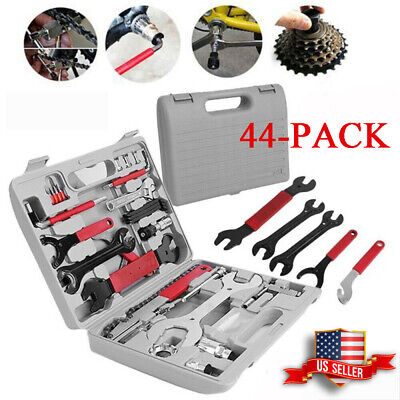 44PCS Complete Bike Bicycle Repair Tools Tool Kit Set Home Mechanic Cycling New
