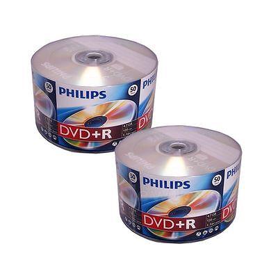 100 PHILIPS Blank DVD+R Plus R Logo Branded 16X 4.7GB 2x50pk Media Disc