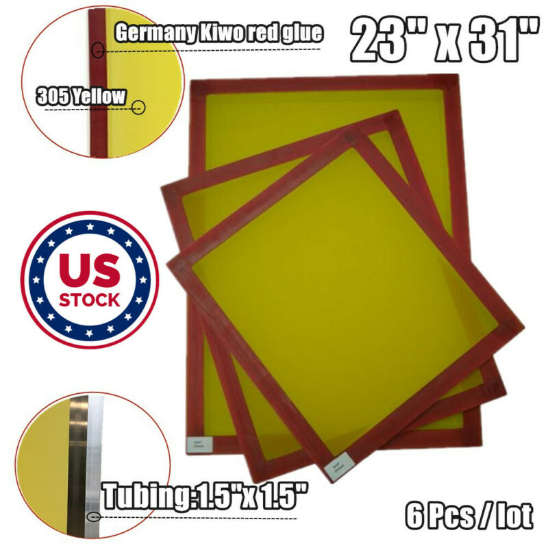 """US Stock 6 PACK 23"""" x 31"""" Aluminum Silk Screen Printing Frame With 305 Mesh"""
