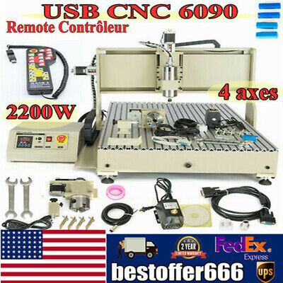 Usb 6090 Cnc Router Engraver 4 Axis Engraving Milling Carving Machine 2200w Wrc