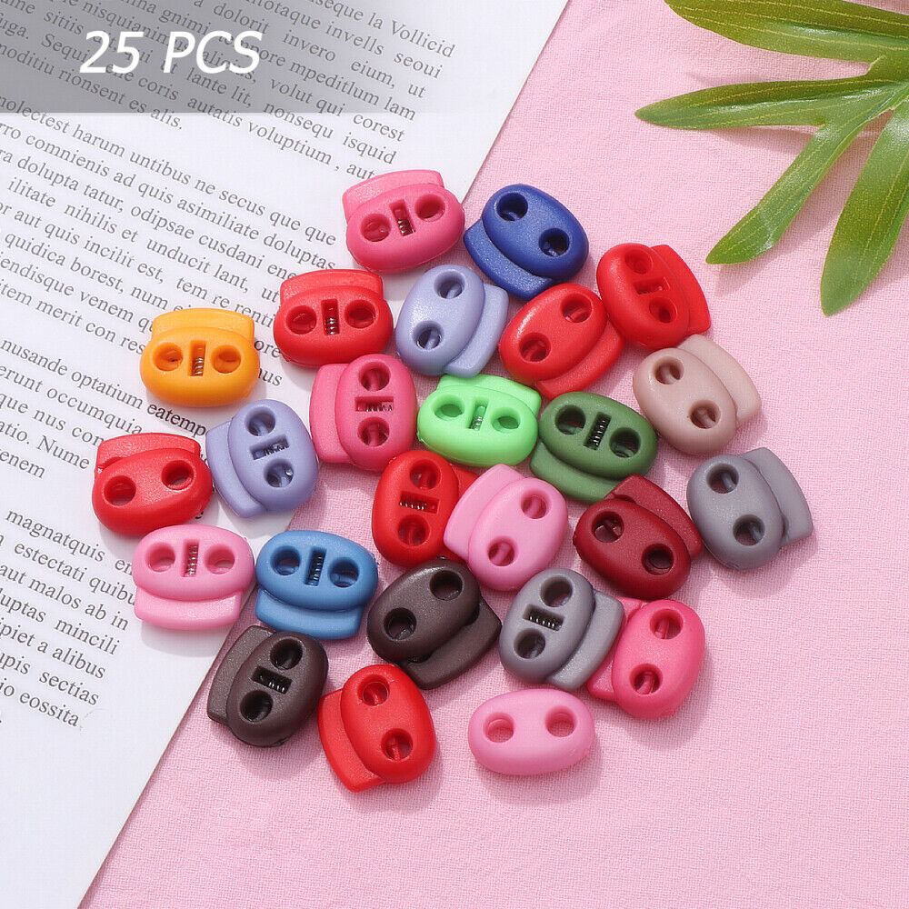 25pcs Oval Spring Fastener Cord Lock Toggle Stopper Buttons DIY Cordlock Color