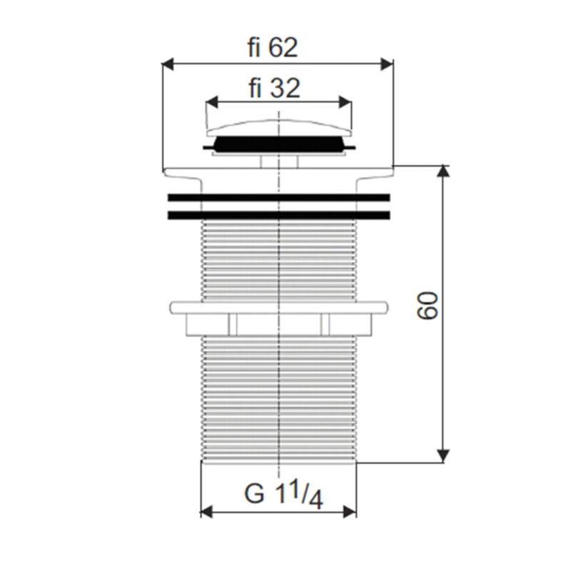 Ablaufventil Click-Clack für Waschbecken mit Überlauf QUALITÄT  Retro KOM