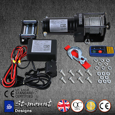 ELECTRIC WINCH 3000lb 12V WITH WIRELESS REMOTE ATV SUV TRAILER BOAT 4x4 TRUCK UK