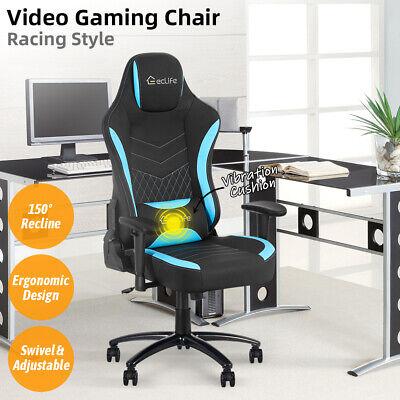 Gaming Chair Ergonomic Racing Office Computer Desk Massage Recliner Chair Swivel