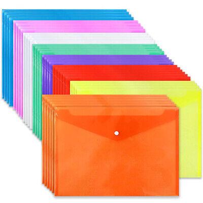 Plastic File Folder Case Office School Document Wallets Bag A4 Paper Holder