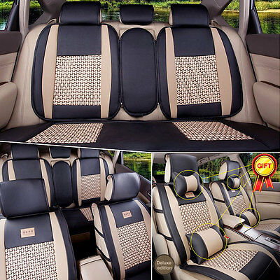 Size M PU Leather Car Seat Covers Cushions 5-Seats Front & Rear W/ Pillows 11PCS