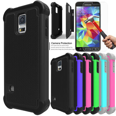 For Samsung Galaxy S5 Shockproof Case Cover with Tempered Glass Screen Protector