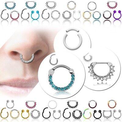 Segment Septum Clicker Nasenpiercing Ring 3er Set Glitzer Edelstahl Damen Helix