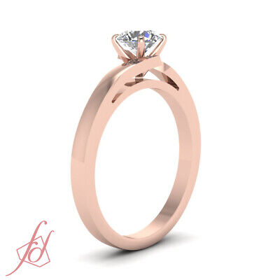 1 Carat Round Cut Diamond Solitaire 14K Rose Gold Engagement Ring GIA Certified 2