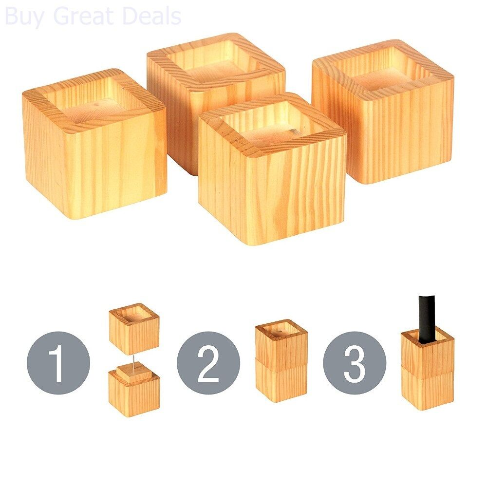 Details About 4 Wood Bed Lifters Set Risers Table Furniture Sofa Couch Storage Lift Rise Raise