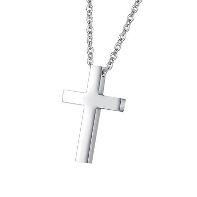 Simple Cross Pendant For Kids Boys Girls Stainless Steel Small Necklace Silver - Cross Necklace For Girl