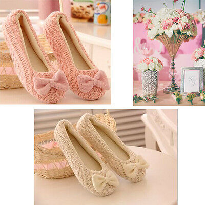Women Girl Winter Warm Bowknot Soft Indoor Home Slippers House Casual Shoes lt