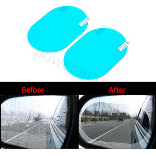 2x 10*14.5cm Blue Oval Car Anti Fog Rainproof Rearview Mirror Protective Film