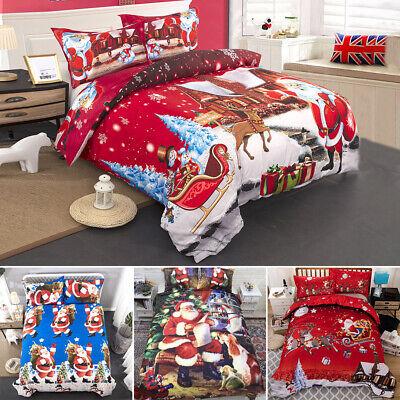 Christmas Santa Duvet Cover Quilt Bedding Set With Pillowcase Single Double King ()
