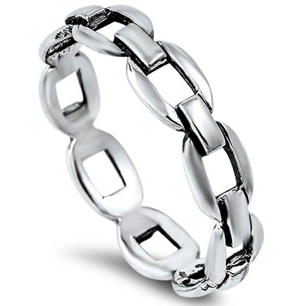 Solid Chain Link Band .925 Sterling Silver Ring Sizes 4-10