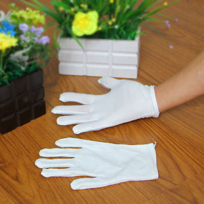 1 Pairs White 100 Cotton Gloves Antique Eczema Coin Handling Inspection E9b4s