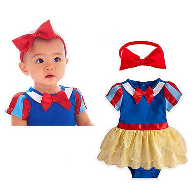 New Baby Girls Snow White Bodysuit Costume Set Princess Halloween Fancy Dress
