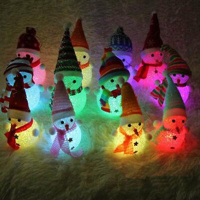 LED Light Snowman Santa Claus Ornament Christmas Tree Hanging Xmas Gift Decor
