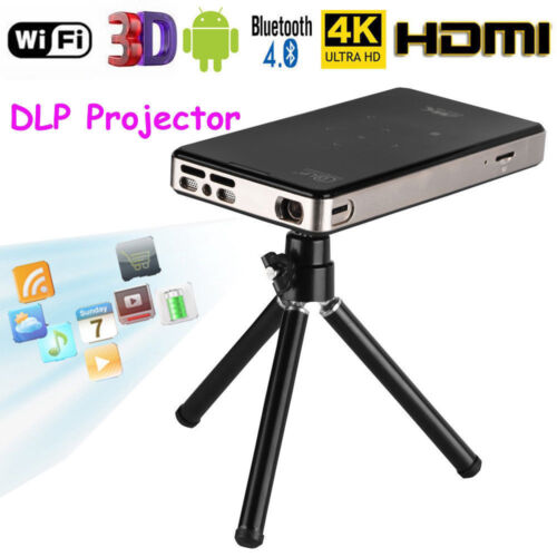 Smart Android WiFi 4K DLP Projector Bluetooth 4.0 Mini 3D Home Cinema Video HDMI