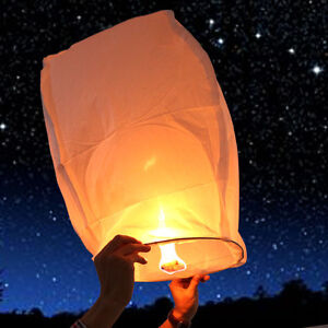 10x White Chinese Sky Fire Lanterns Khoom Fay Kong Ming Flying Floating Lantern
