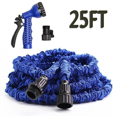 Latex 25 FT Expanding Flexible Garden Water Hose with Spray Nozzle Blue