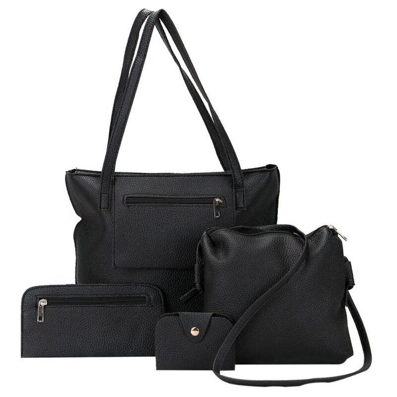 Damentaschen Set 4 in 1 Shopper Schultertasche Handgelenktasche Etui schwarz