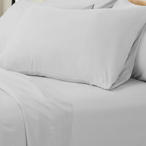 Valeria 1000TC Ultra Soft Super King Bed Sheet Set - Light Grey