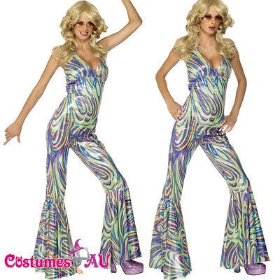 Ladies 70s Dancing Queen Costume 1970s Tribute Retro Go Go Retro Hippie Catsuit