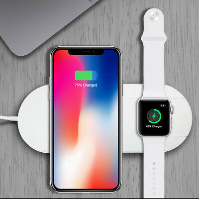 Qi Wireless Charging Dock 2in1 Fast Charger For Apple Watch For iPhone XR XS MAX ()
